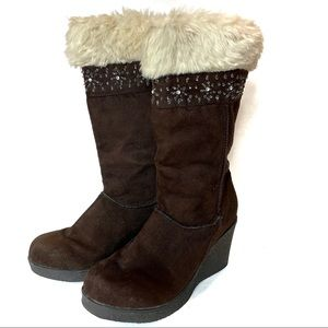 American Eagle Brown Faux Suede Boots 6.5